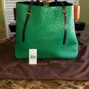 MICHAEL KORS LEATHER OSTRICH GIA TOTE